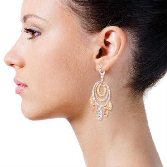 """""""Handmade"""" 18k,Yellow,Rose,White,Gold,3.65ct,Diamond,Cocentric,Oval,Dangle,Earring"""