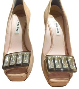 Miu Miu Miu Suede Jeweled Peep Toe Blush Pumps