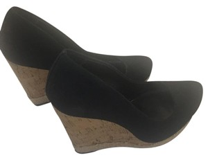 Luxury Rebel Black with cork wedge Wedges