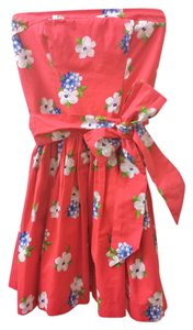 Abercrombie & Fitch short dress red, multicolor Summer Floral Strapless on Tradesy