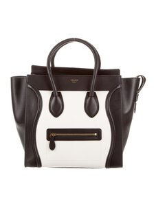 Céline Celine Mini Luggage Tote in Black and White