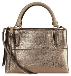 Coach Borough Leather Satchel in Gold
