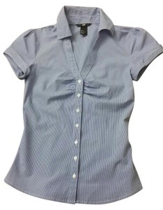 H&M Short-sleeve Button Down Shirt blue, white