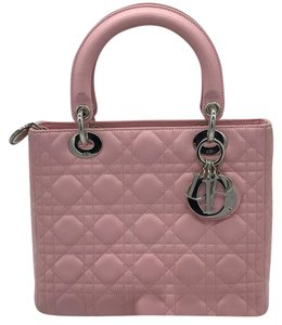 Dior Lady Lambskin Satchel in Pink
