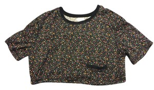 Urban Outfitters Crop T Shirt Black with Multi-color Specs