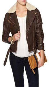 Soia & Kyo Faux Shearling Belted Moto Brown Leather Jacket