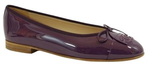 Chanel Cc Patent Leather Purple Flats