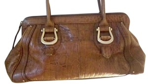 Liz Claiborne Gold Hardware Leather Satchel in Brown