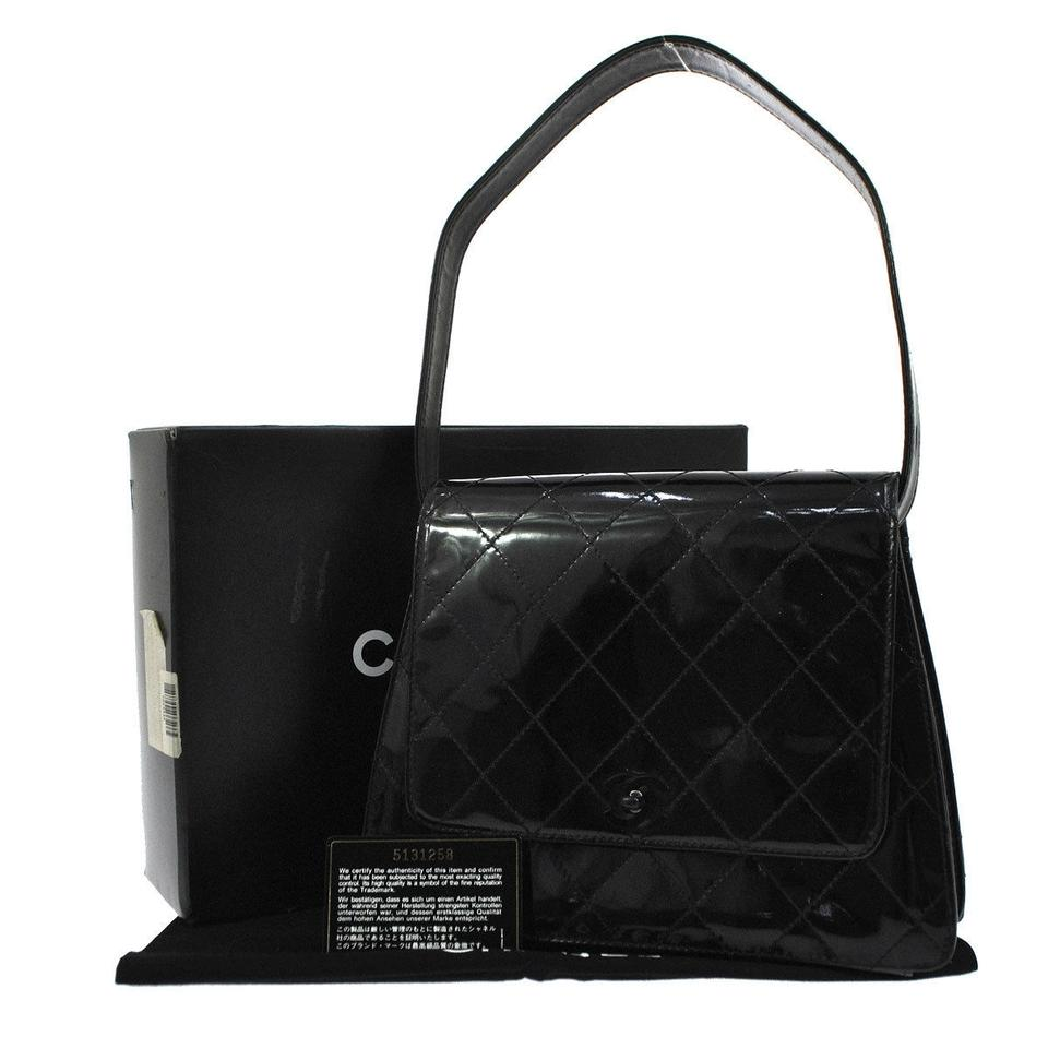 4aad06d4924d Chanel Vintage Medium Kelly Flap Black Patent Leather Shoulder Bag ...