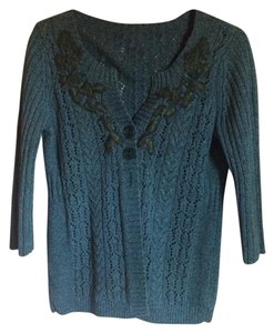DKNY Sweater Blue Green Sweater Floral Sweater 3/4 Sleeves Cardigan