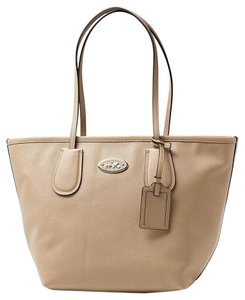 Coach Taxi Zip Top Leather Tote in Nude
