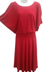 Tahari Smocked Boat Neck Dolman Sleeves Arthur Levine Dress
