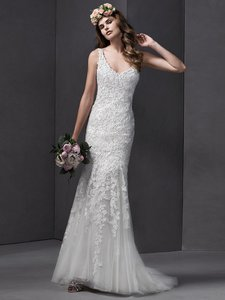 Sottero and Midgley Ivory Lace Brooklyn Feminine Wedding Dress Size 12 (L)