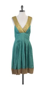 Nicole Miller short dress Teal Gold Silk on Tradesy