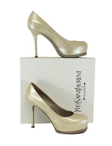 Saint Laurent Cream Embossed Tribtoo 80 Pumps