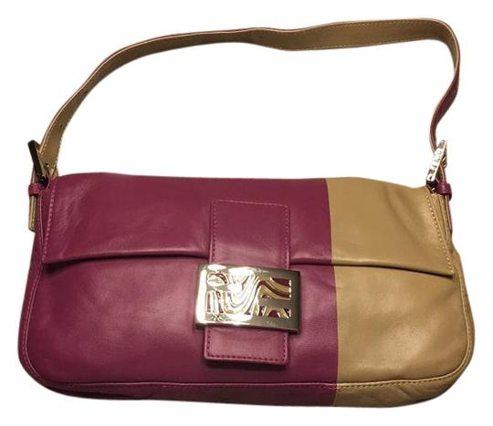 4ff9c37799 Fendi Purple/Beige Leather Shoulder Bag - Tradesy