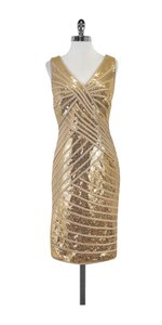 Tadashi Shoji short dress Gold Sequin Sleeveless on Tradesy