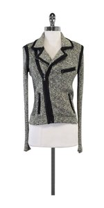 Rag & Bone Black & White Knit Leather Moto Jacket