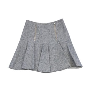 Rebecca Taylor Slate White Tweed Flared Skirt