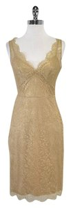 BCBGMAXAZRIA short dress Gold Lace Sleeveless on Tradesy