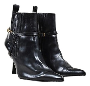 Chanel Leather Pointed Toe Chain Buckle Trim Pointed Toe Ankle Black Boots