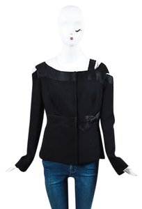 Prada Virgin Wool Cut Out Snap Front Black Jacket