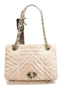 Lanvin Light Leather Quilted Gold Tone Chain Link Happy Shoulder Bag