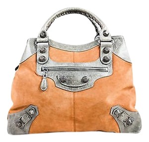 Balenciaga Camel Suede Gray Leather Trim Giant 21 Brief Double Handle Satchel in Camel, Gray