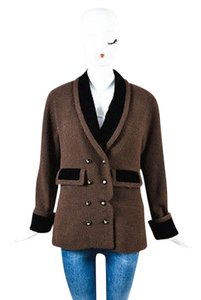 Chanel Tweed Black Velvet Trim Gold Clover Button Front Brown Jacket