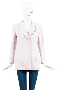 Chanel Chanel 03p Pink Cream Wool Tweed Collared Button Up Blazer Jacket