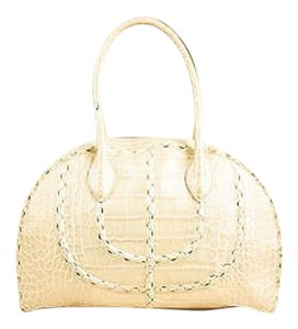 ALAÏA Alaia Leather Embossed Crocodile Scalloped Top Handle Handbag Shoulder Bag