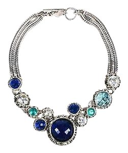 Dominique Aurientis Dominique Aurientis Silver Tone Blue Glass Crystal Medallion Statement Necklace