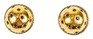Dior Vintage Christian Dior Boutique Gold Tone Red Rhinestone Clip On Dome Earrings