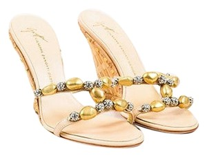 Giuseppe Zanotti Gold Beaded Tan Sandals