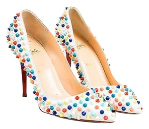 Christian Louboutin Multicolor Leather Spiked Pigalle White, Red, Yellow, Green, Blue, Orange Pumps