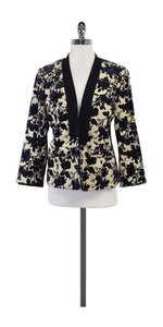 Tory Burch Cream Blue Floral Velvet Jacket