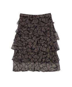 Hugo Boss Taupe Abstract Print Tiered Silk Skirt