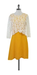 Sandro short dress White Yellow Layered Lace on Tradesy