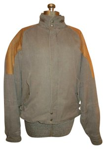 M. Julian Vintage Men's Leather Canvas army green & tan Jacket