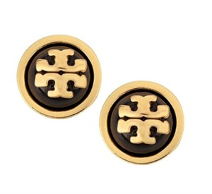 Tory Burch NWT TORY BURCH MELODIE STUD EARRINGS BLACK GOLD W DUST BAG