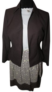 Kasper Kasper Brown Jacket Ann Taylor Loft Multi Skirt cream knit sweater