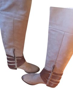 Sam Edelman Leather Straps Buckles Stone/chocolate Boots