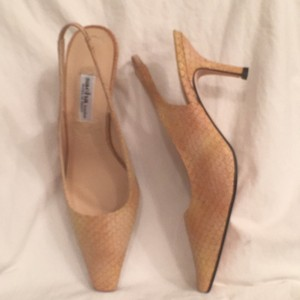 Sacha London Leather Snakeskin Biege, Pale Yellow & Pale Peach Pumps