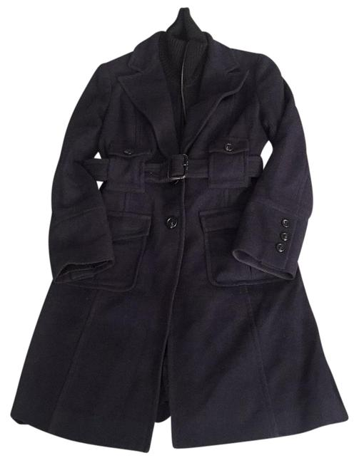 Item - Navy Blue Wool Belted Built-in Ribbed Vest Trench Coat Size 8 (M)