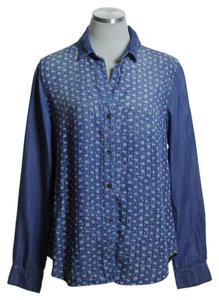 Cloth & Stone Woven Chambray Denin Long Sleeve Printed Button Down Shirt Blue