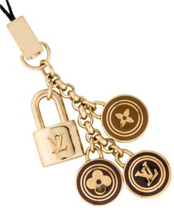 Louis Vuitton Gold-tone Louis Vuitton LV logo monogram bag phone charm