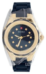 Michele Petite Tahitian Jelly Bean Gold Tone Navy Watch