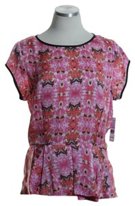 Chaus Floral Woven Short Sleeve Top Pink