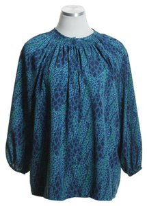 Tucker Woven 3/4 Sleeve Printed Top Teal Blue