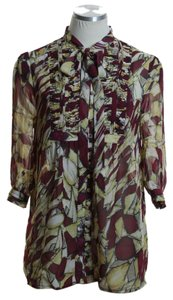 MM Couture Woven Printed Sheer 3/4 Sleeve Bow Tie Button Down Shirt Maroon Multi
